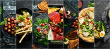 Food Banner. Set Of Dishes On The Table. Traditional Cuisines Of The World. Top View.