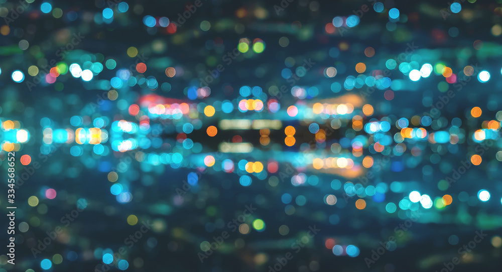 Fototapeta Blurred abstract bokeh background of San Francisco city lights at night