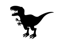 Trex Dinosaur Black Silhouette Icon Vector. Tyrannosaurus Rex Vector. Trex Black Silhouette Icon Vector. Dinosaur Icon Isolated On A White Background