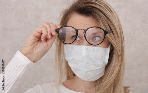 Photo Medical mask and Glasses fogging