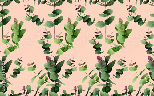 Watercolor painting  eucalyptus branches leaves on pink Wallpaper Mural
