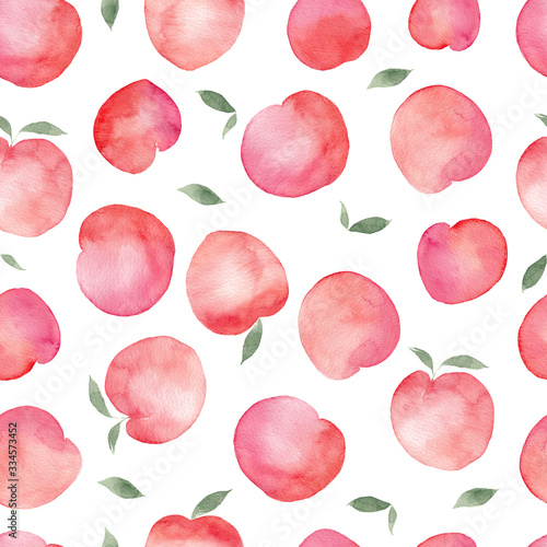 Seamless pattern with watercolor hand draw peach, isolated on white background