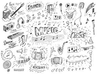 Hand drawn music doodles vector illustration
