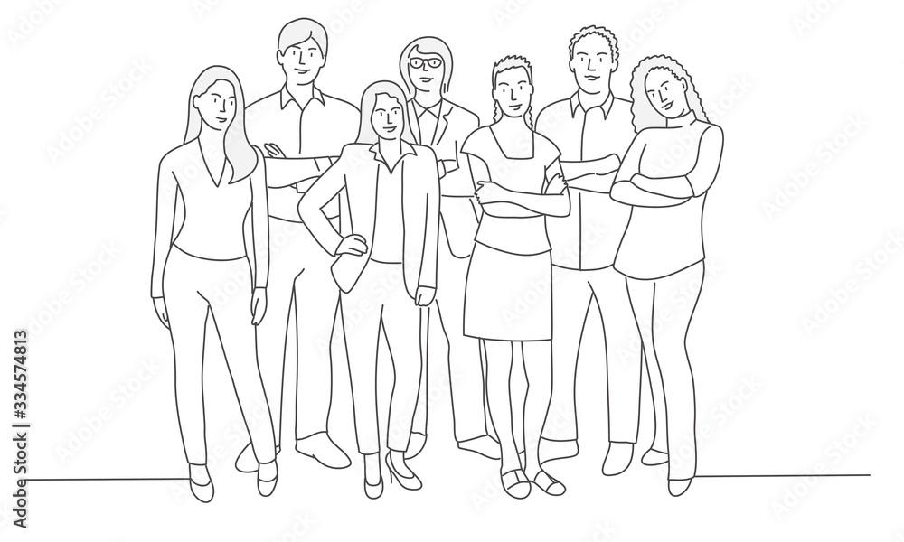 Fototapeta Line drawing of business people. Teamwork. Friends. Vector illustration.