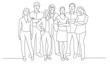 Line drawing of business people. Teamwork. Friends. Vector illustration.