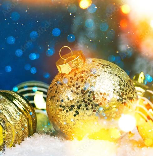 Fototapeta Christmas and New Year holidays background with ornaments. obraz na płótnie