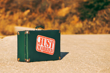 Wedding Retro Green Suitcase With Sticker Just Married On The Road