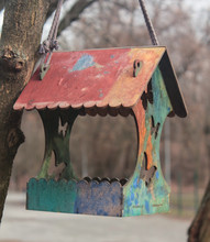 Nesting Box On A Tree. Wooden Birdhouse On A Tree In The  Park Zone. Simple Birdhouse Design.