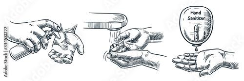 Obraz Hygiene and sanitation vector illustration. Human hand applying soap, antibacterial gel, antiseptic sanitizer - fototapety do salonu