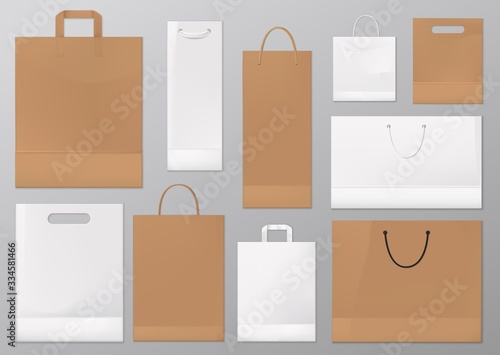 Photo Paper bag vector mockups of blank white and brown shopping and gift packages