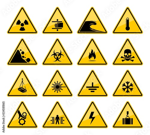 Fotografie, Obraz Hazard warning sign vector icons of danger caution and safety attention