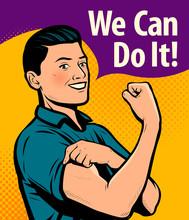 We Can Do It, Poster. Retro Comic Pop Art Vector Illustration