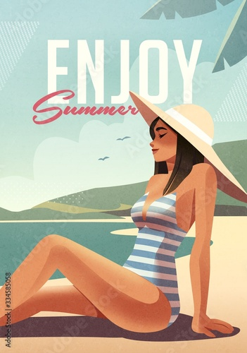 Fototapeta Girl relaxing on the beach. Summer vacation poster or flyer design template with sexy female on the beach. Party invitation. Modern style. Vector illustration obraz