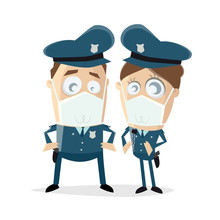 Funny Clipart Of A Police Officer Team With Breathing Mask
