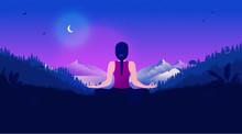 Meditating At Night - Woman In...