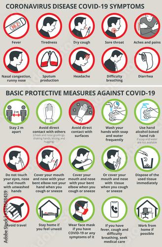 Obraz Coronavirus disease COVID-19 symptoms and Basic protective measures COVID-19 - fototapety do salonu