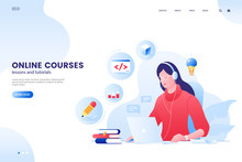Online Course Vector Illustration. Online Education Web Page Concept. Girl Studying With Laptop. E-Learning Platform. Flat Style.