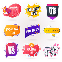 Follow Us Sign Collection. Fol...