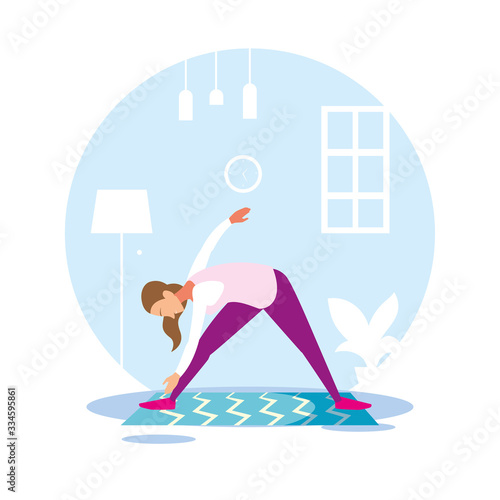 Fototapeta woman out doing exercises at home obraz