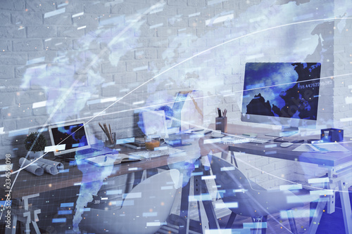 Double exposure of data theme drawing and office interior background. Concept of technology.