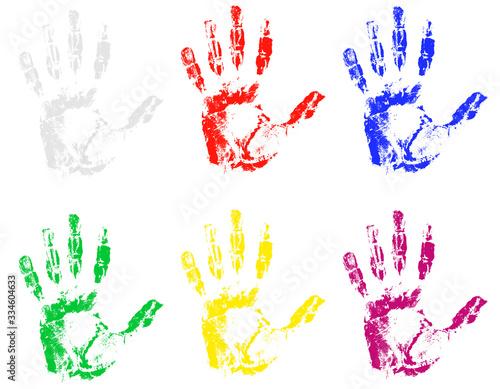 Vászonkép handprint of different colors vector illustration