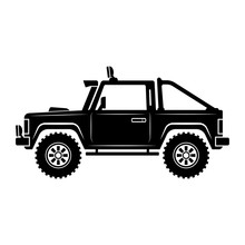 SUV Icon. Off-road Car With Big Wheels. Black Silhouette. Side View. Vector Graphic Illustration. Isolated Object On A White Background. Isolate.