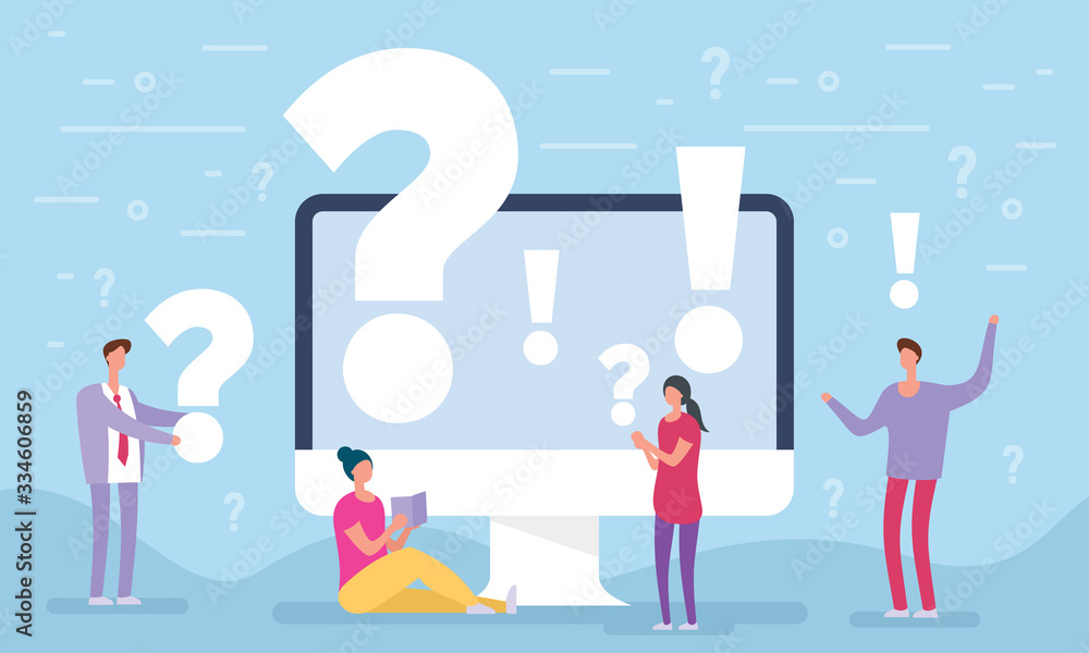 Fototapeta People asking questions around a huge question mark in computer. Question mark concept. Vector illustration for web banner, infographics, mobile. Landing page template. FAQ business manager.