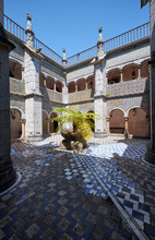Cloisters Surrounding The Inner Court Of The Monastery. Pena Palace. Sintra. Portugal