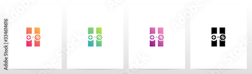 Game Controller On Letter Logo Design H Poster Mural XXL