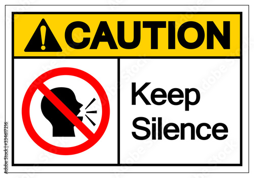 Caution Keep Silence Symbol Sign, Vector Illustration, Isolate On White Background Label Canvas Print