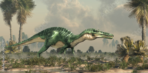 Obraz na plátně Suchomimus was a large carnivorous spinosaurid theropod dinosaur that lived in Cretaceous era Africa