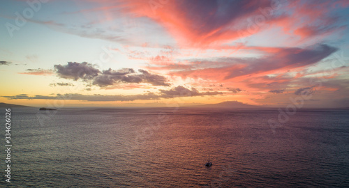Sunset from Maui via drone