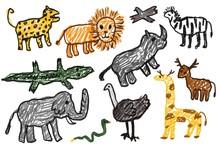 Children Drawing , Animals In Africa
