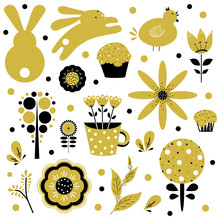 Easter Set, Gold And Black, White Background