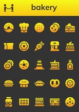 Modern Simple Set Of Bakery Vector Filled Icons