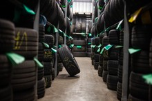 Tires Stacked Stored In Auto M...