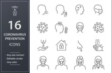 Coronavirus Line Icons Set. Bl...