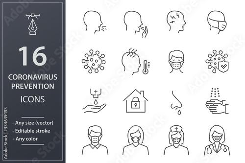 Tela Coronavirus line icons set