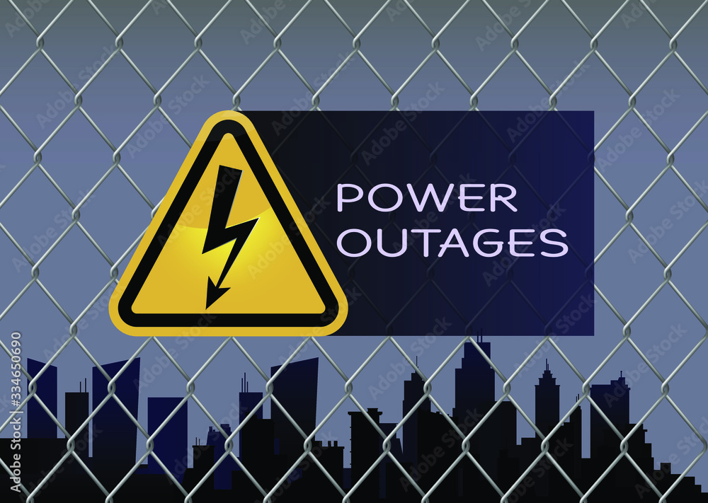 Fototapeta Power outage with beautiful triangular electricity icon in yellow and black