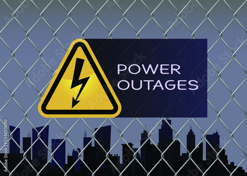 Fototapeta Power outage with beautiful triangular electricity icon in yellow and black obraz