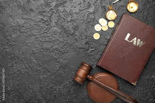 Judge's gavel, book, money and scales of justice on dark background Wallpaper Mural