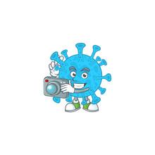 Coronavirus Backteria Photographer Mascot Design Concept Using An Expensive Camera