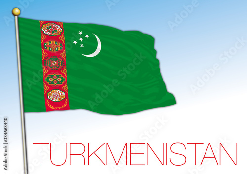 Photo Turkmenistan official national flag and coat of arms, asiatic country, vector il