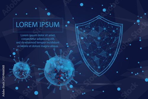 Photo Virus protection, Coronavirus molecule, Polygonal security shield abstract image isolated on a blue background