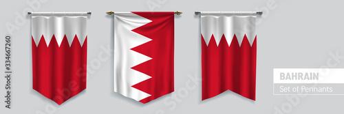 Photo Set of Bahrain waving pennants on isolated background vector illustration