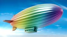 Rainbow Colored Zeppelin In Th...