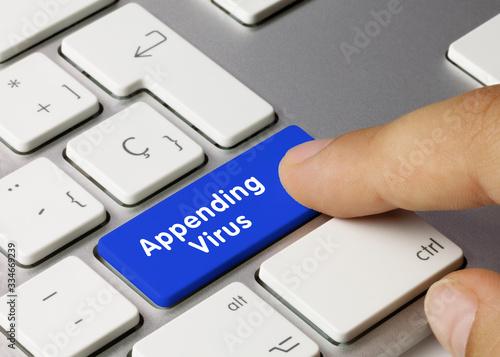 Appending Virus - Inscription on Blue Keyboard Key. Wallpaper Mural