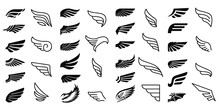 Wing Icons Set Vector Illustration White Background