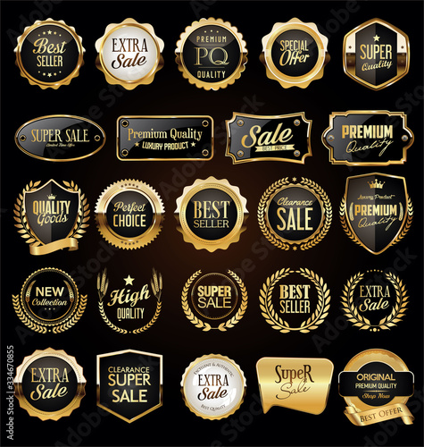 Collection of golden badges and labels retro style Wall mural
