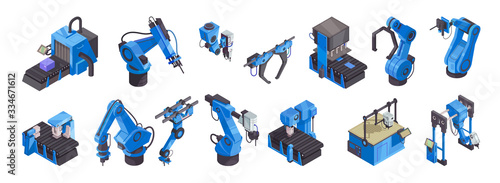 Fototapeta Isometric Robot Automation Color Icon Set obraz